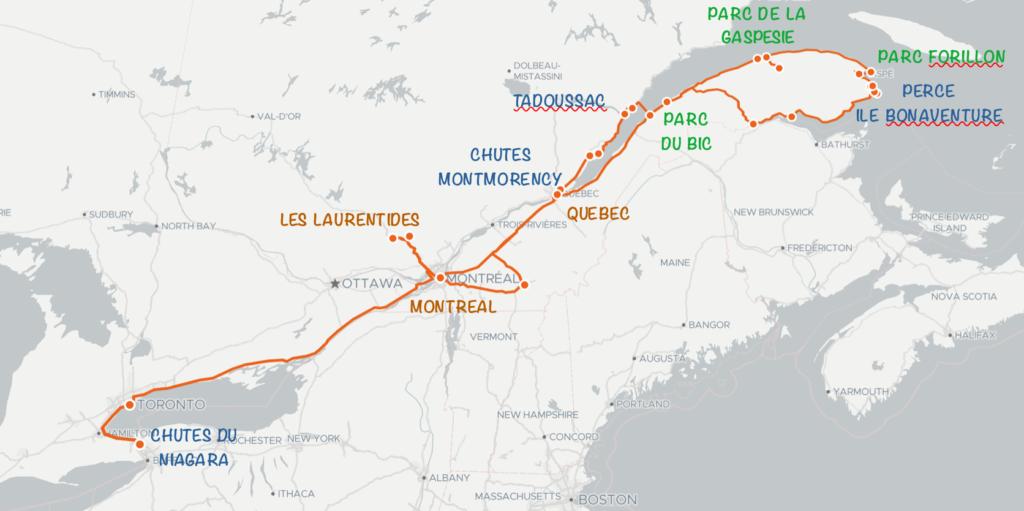 carte road trip 3 semaines Québec